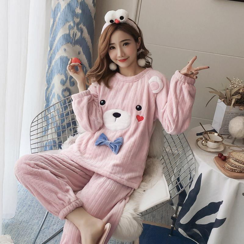 3fc664d81 2019 Women Cute Pajamas Autumn Winter Flannel Kawaii Bear Bow Tie ...