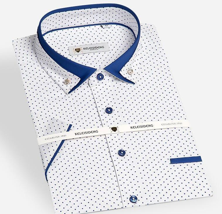 0f4a1ffcc -Summer Mens Short Sleeve Mini-polka Dot Pattern Dress Shirt with Contrast  Color Double Collar Slim-fit Cotton Casual Shrits