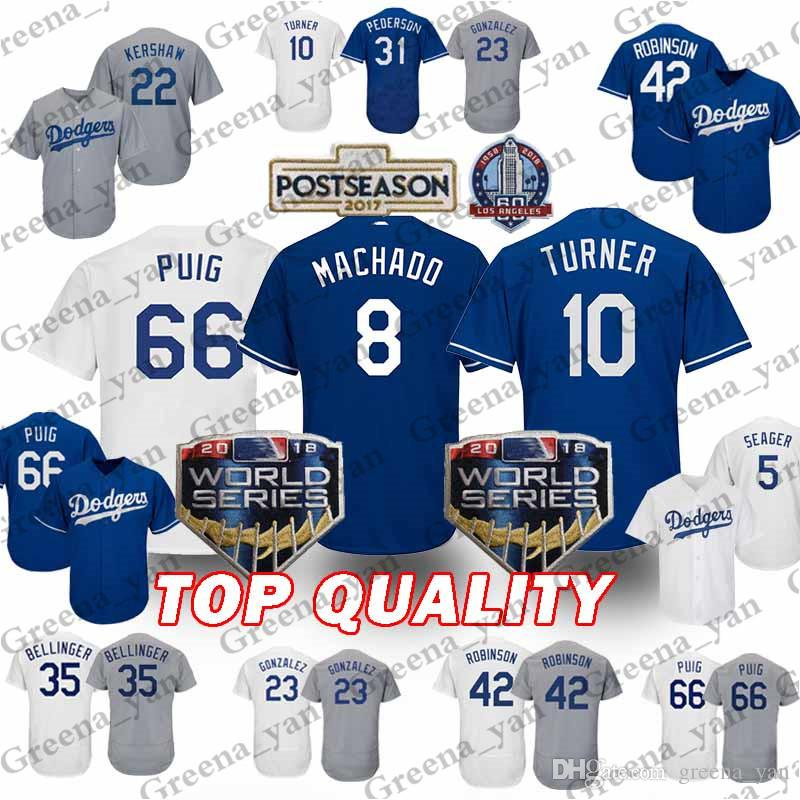 cheap for discount 6b206 967a0 Los Angeles Dodgers Jersey 8 Manny Machado 10 Justin Turner 66 Yasiel Puig  5 Corey Seager 22 Clayton Kershaw 23 Gonzalez Jerseys 2019