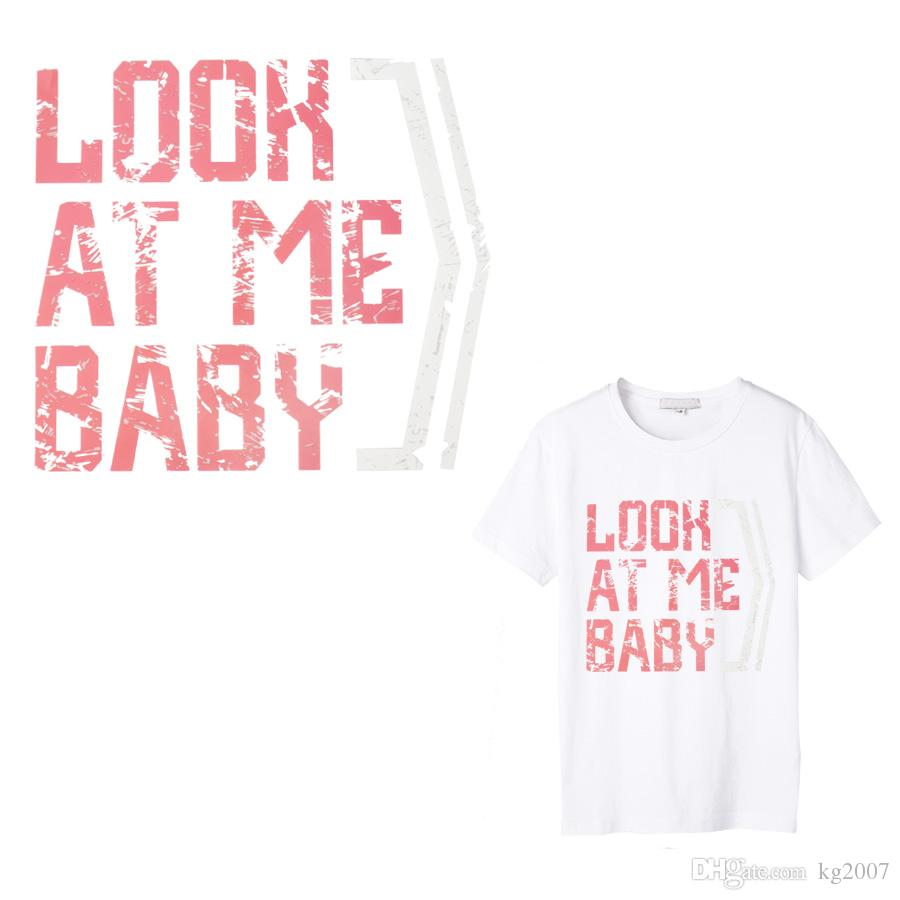 Look At Me Baby Thermal Transfer Paper Patch Decoration Text Sticker for  T-shirt Iron on Transfers Patches for Girl Clothes 1 PCS