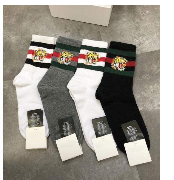ea2baddc Amante Tigre de algodón Diseñador de lujo Calcetines de marca 4 pares  Hombres Mujeres Calcetines deportivos Algodón Pareja High Street Calcetines  ...