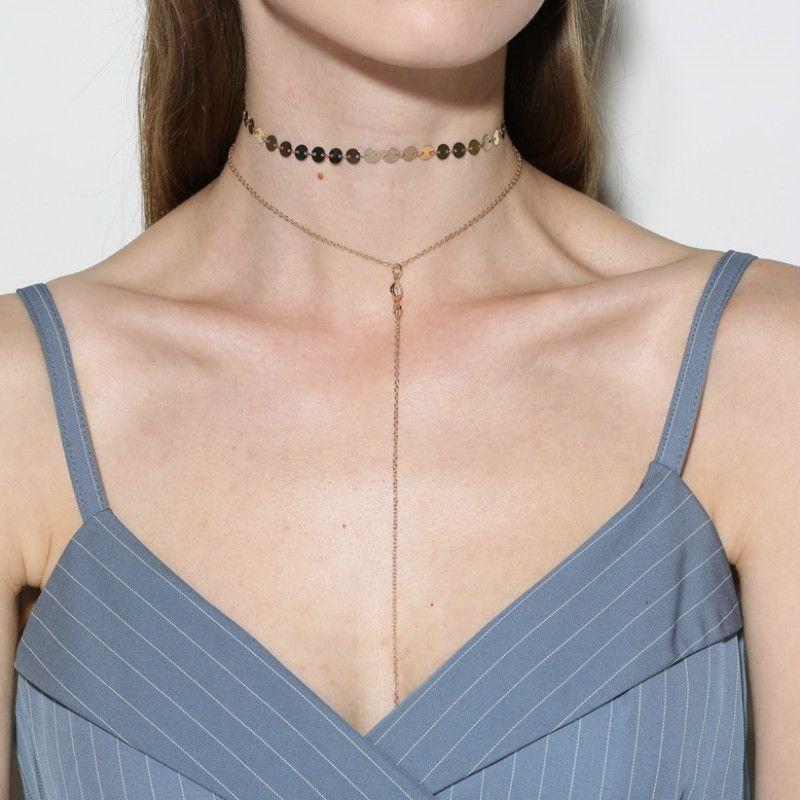 deb32651feb Wholesale Wholesale Gold Color Choker Necklace For Women Long Moon Tassel  Pendant Chain Necklaces   Pendants Laces Velvet Chokers Fashion Jewelry  Cute ...