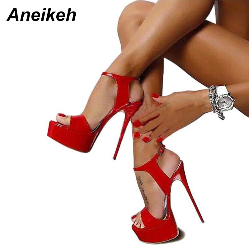 Aneikeh Hot Sales 2018 Summer Style Sexy 16cm Women Sandals High Heels Open  Toe Buckles Nightclub Shoe Black Big Size 9 Mens Casual Shoes Penny Loafers  From ... 67c7751dd90e