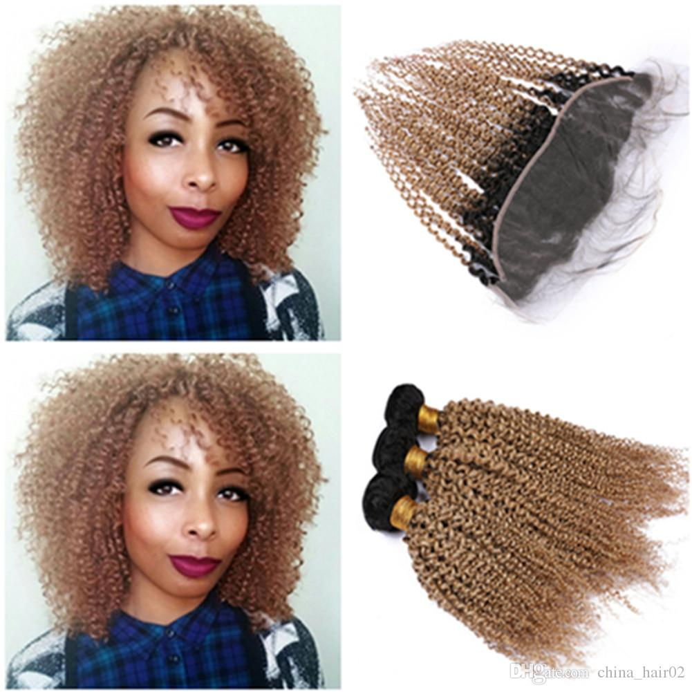 #1B/27 Honey Blonde Ombre Kinky Curly Human Hair 3Bundles with Frontal Light Brown Ombre Kinky Curly 13x4 Lace Frontal Closure with Weaves