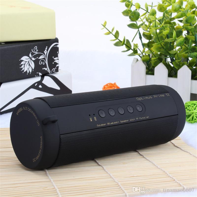 Original T2 Bluetooth Speaker Waterproof Portable Outdoor Wireless Mini  Column Box Stereo HiFi Bicycle Speaker Support Flashlight TF card FM