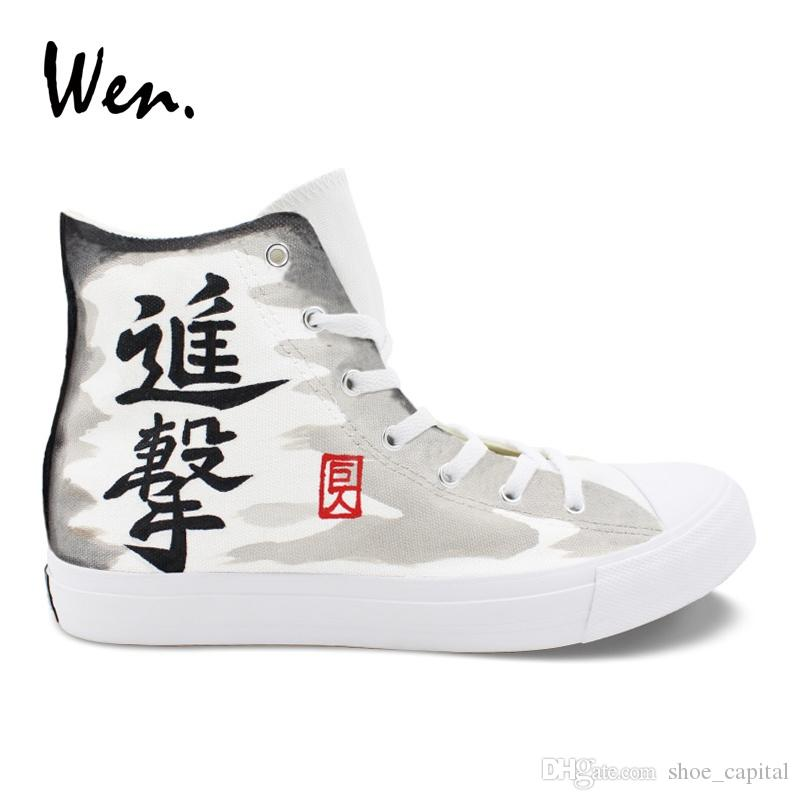 a69363fe Wen Designers Sneakers Women Men Cosplay Shoes Hand Painted Attack on Titan  Anime Shoes High Top Cross Straps Espadrilles Flat #245475