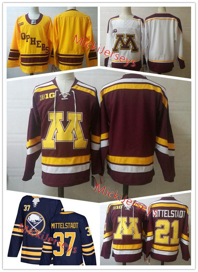 quality design 34799 456a9 Mens NCAA #21 Casey Mittelstadt Minnesota Golden Gophers College Hockey  Jersey Navy #37 Casey Mittelstadt Buffalo Sabres Jersey S-3XL