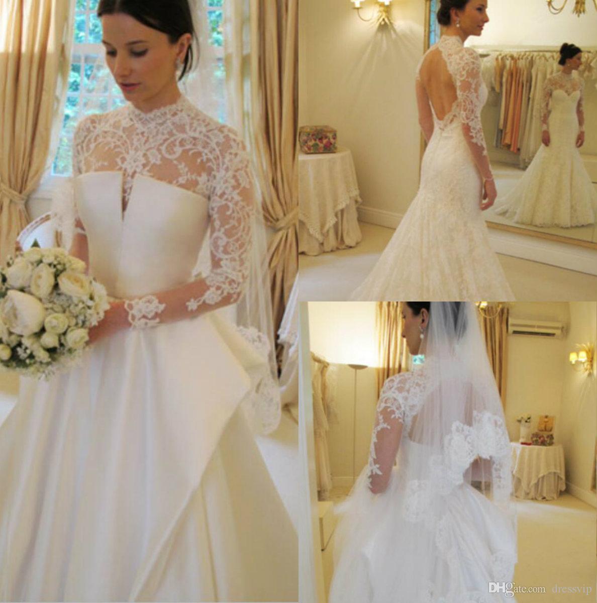 5e91f91717d6c 2019 Modest Wedding Dresses With Detachable Skirt Lace Applique Long Sleeve  Mermaid Wedding Dress Sweep Train Custom Made Vestidos De Novia