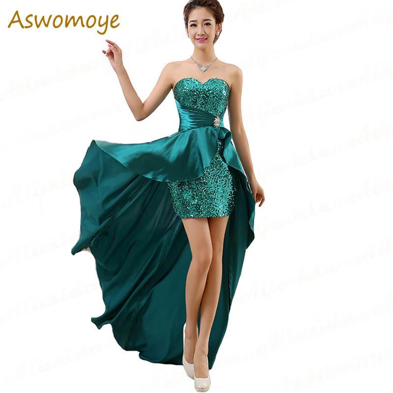 2019 Aswomoy Stunning Evening Dress 2018 Short Front Long Back Sequins Prom  Dress Wedding Party Dress Vestido De Festa Robe De Soiree D18122601 From  Shen06 ffd2be712e31