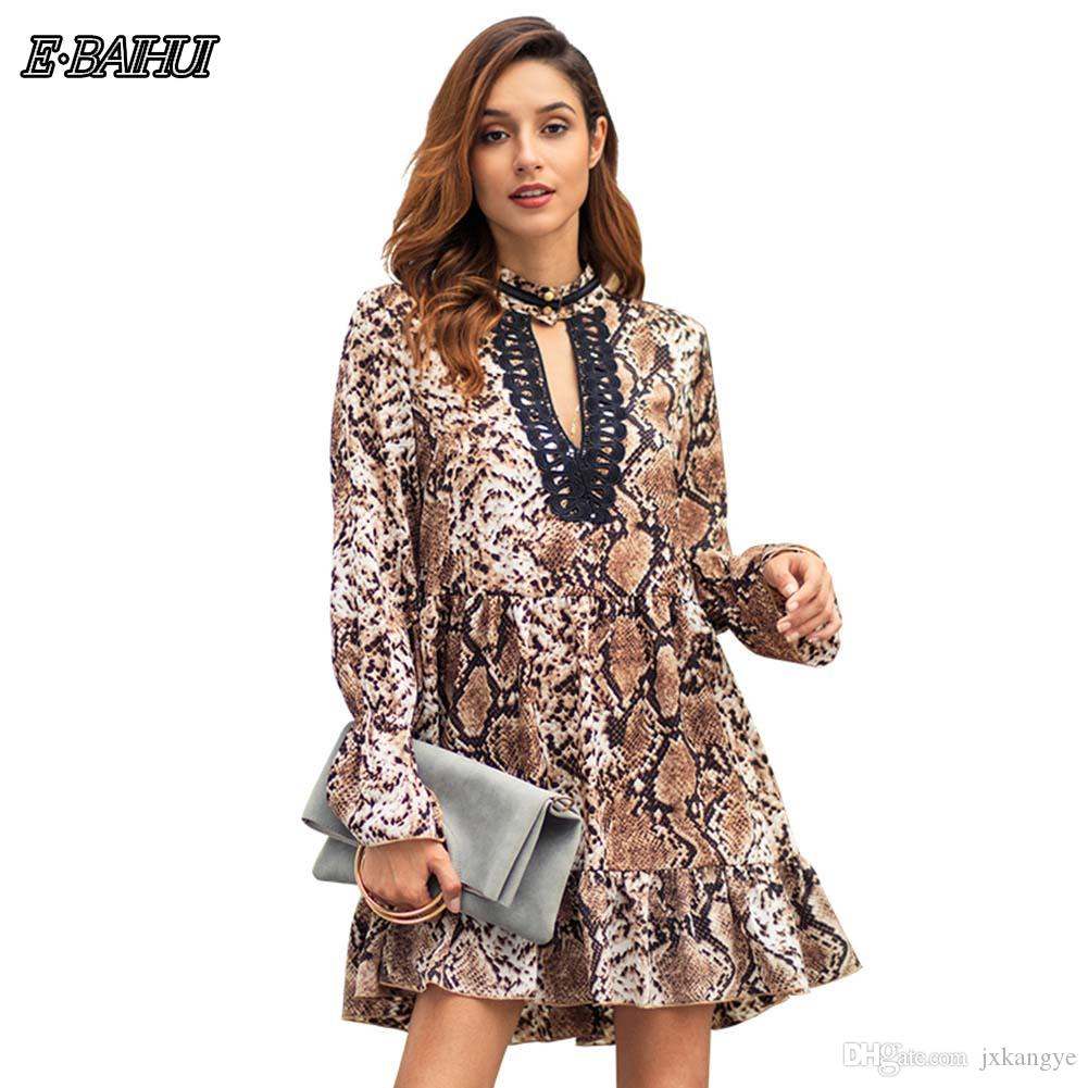 E-BAIHUI 2019 New Leopard-print Commuter Size Dress for Women in Early Spring Comfortable Trend Personality Flower Lace Dress C3068