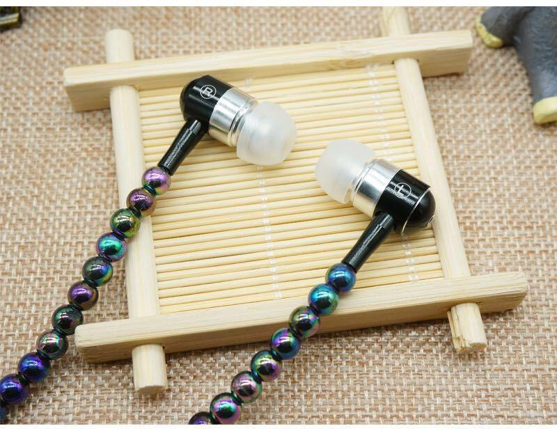 Headphone MP3 Diamond Pearl beads In Ear Necklace Earphones With Mic Fashional gift Girls Phone Earbuds Headset Gifts High Quality MQ200