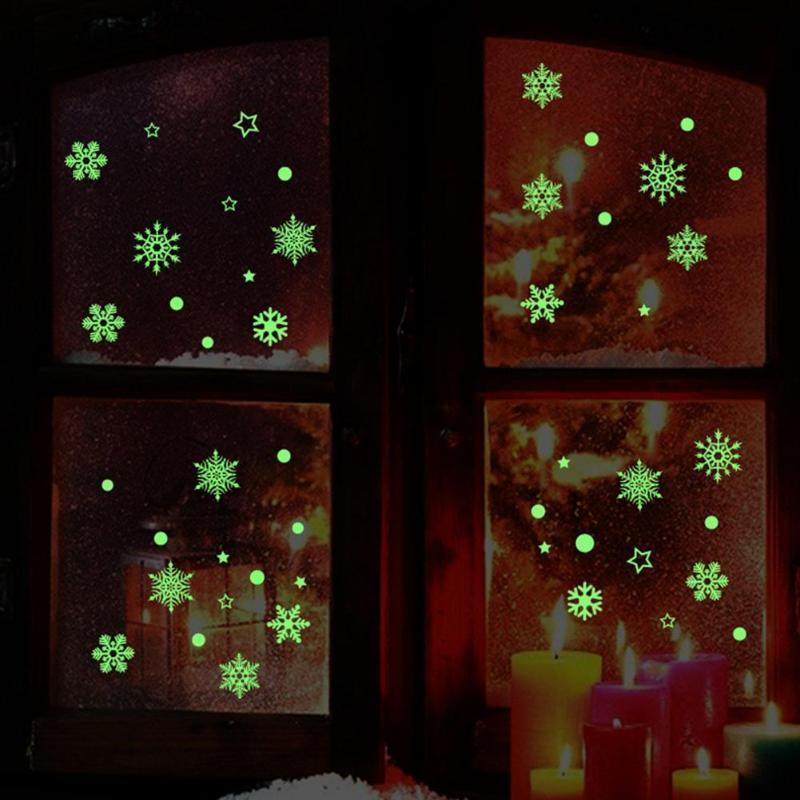 3D Christmas Snowflake Glow In The Dark Wall Stickers Luminous Fluorescent Stickers For Window Room Bedroom Home Decor D19011702