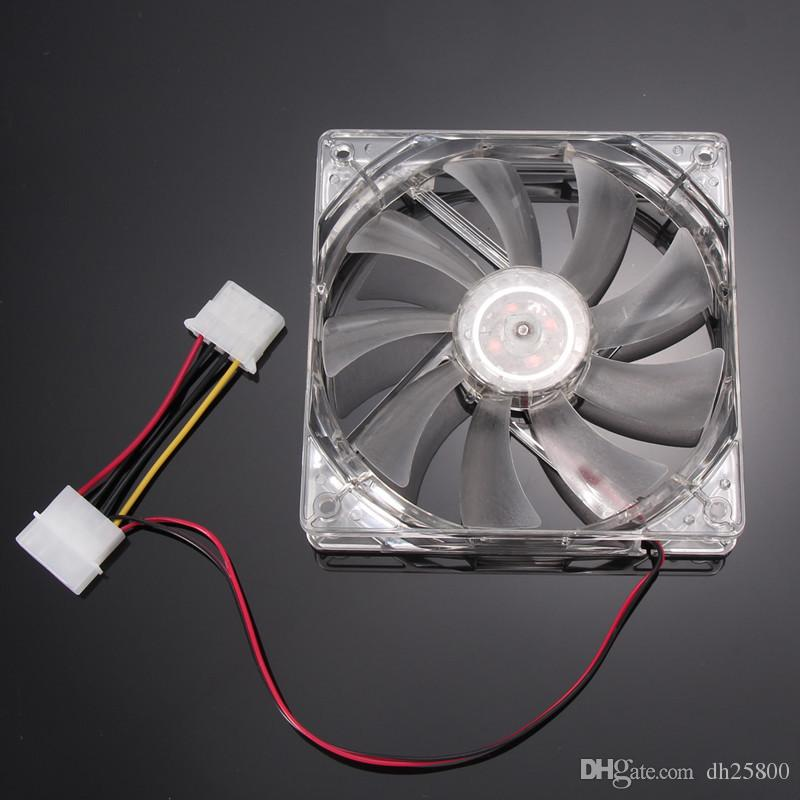 BINMER 120mm 4 Pin Computer CPU Cooling Fan Green Quad 4-LED Light Neon Clear 120mm PC Computer Case Cooling Fan Mod C0608