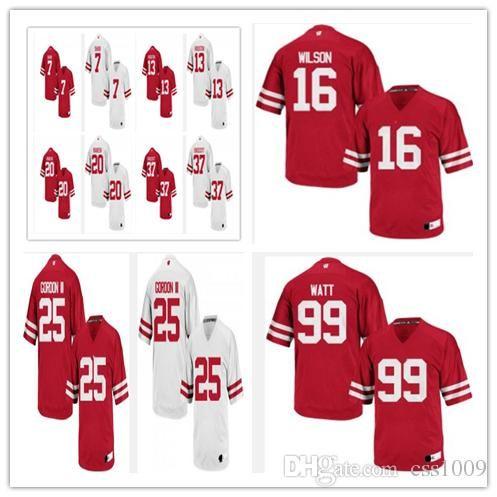 online store b98b0 f037d Wisconsin Badgers #99 J.J. Watt #16 Russell Wilson #25 Melvin Gordon III  sewing Name and Logos Men Women Youth College Football Jerseys