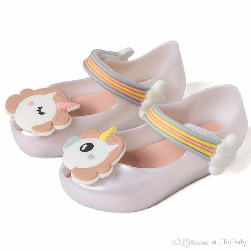 Unicorn Jelly Shoes Summer Girls Sandals Princess First Walkers Soft Sole Non-slip Toddler Kids Single Shoes Beach Shoes