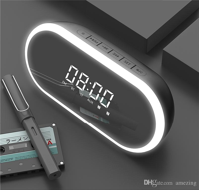 Multi-function Bluetooth Speaker Cosmetic Mirror Night Light Alarm Clock LED Display With Aux TF Card FM USB Handsfree Call Portable Speaker
