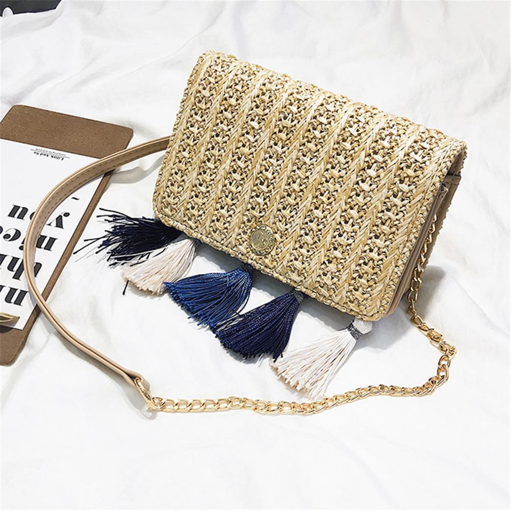 858a0d3f06 Fashionable Tassel Woven Hardware Crossbody Bag Single Shoulder Bag Straw  Simple Versatile Chain Bags For Women Shoulder Bags Handbags On Sale From  ...