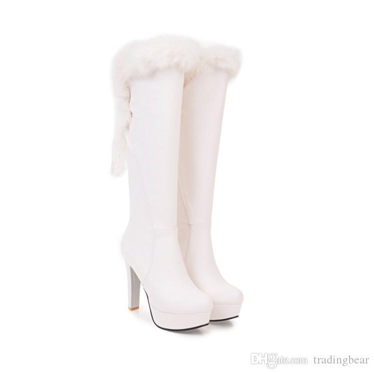 tamaño de 32 a 43 con la caja de zapatos de boda hermosa de invierno botas altas botas de piel blanca de lujo las mujeres de rodilla
