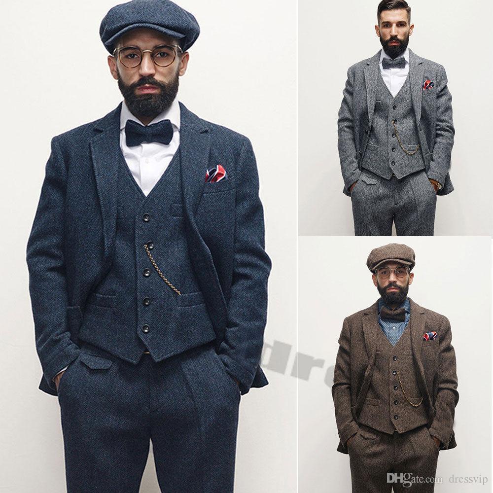 Grosshandel 2019 Vintage Herren Anzuge Tweed Wolle Check Anzuge
