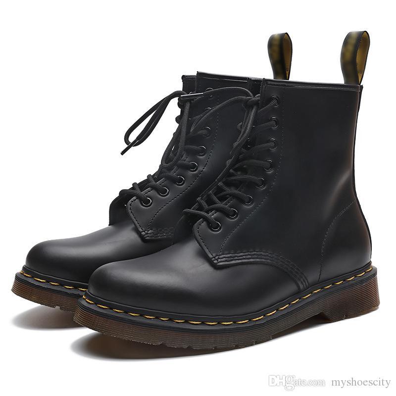плюс размер 35 до 46 47 48 с коробкой мартеновской ботинки женщин мужчины натуральная кожа прочный подошва голеностопного Бути с плюшевой роскоши дизайнер обуви