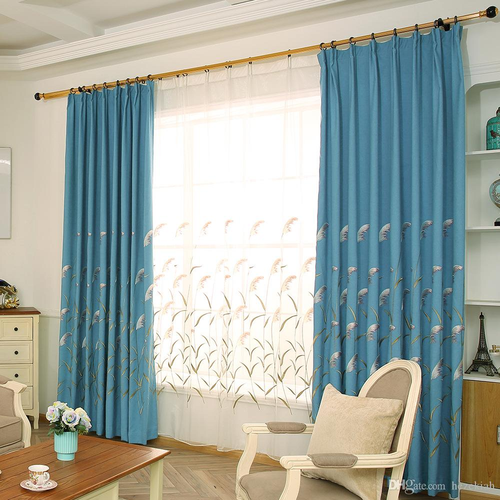 blue linen Curtain cloth European embroidery ecological linen Nordic  blackout curtains living room bedroom balcony curtain customized