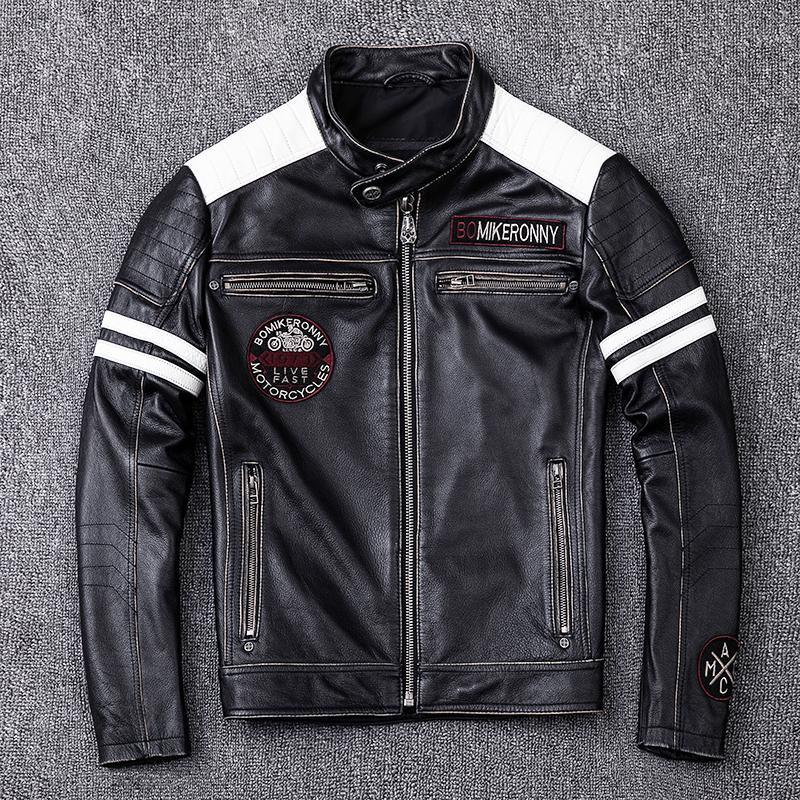 Men's Edging Retro Vintage Motorcycle Clothing Slim Fit Leather Locomotive Genuine Leather Jacket Men Cowhide Leather Coat