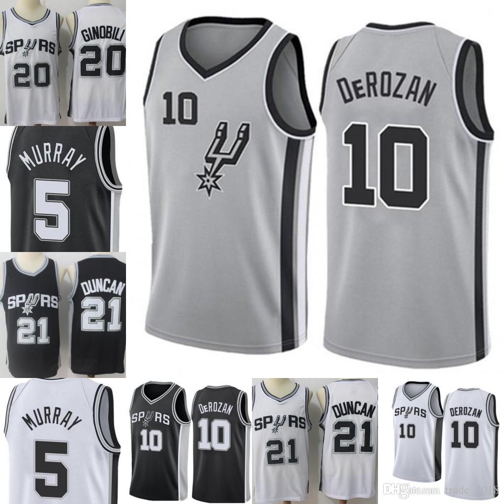 d84ec2e16 2019 Demar 10 DeRozan San  Antonio New Spurs Jersey Mens Tim 21 Duncan Manu  20 Ginobili Dejounte 5 Murray Embroidery Basketball Jerseys From  Trade 2018
