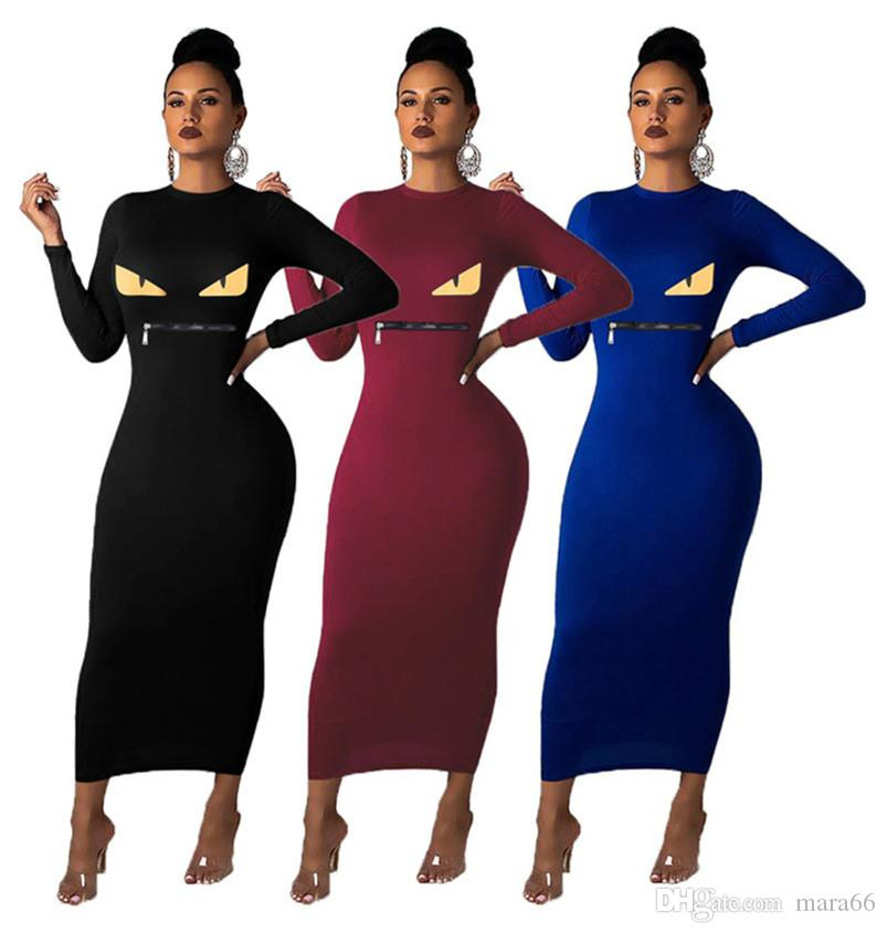 Women solid color maxi dresses sexy eye print long skirts fall winter clothing zipper long sleeve fashion bodycon dress hot selling 1716