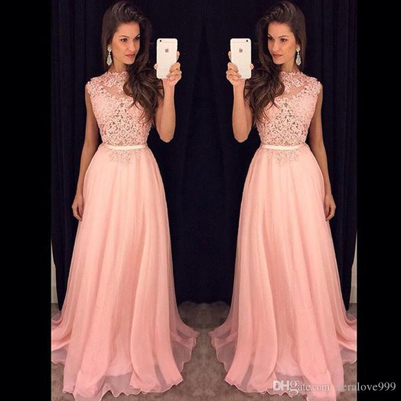 Cheap Pink Lace Top Prom Dresses Long Evening Party Gowns Vestido De Festa Custom Made Chiffon Bridesmaid Dresses