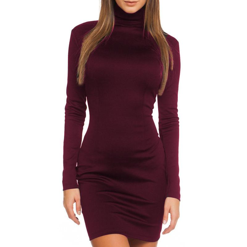 739736f0ff46a Fall 2018 Women Slimming Solid Color Elegant Temperament Quality Dresses  Autumn Winter Long Sleeve Bodycon Casual Mini Dress D19010501