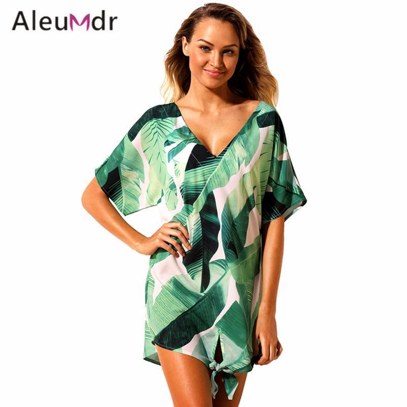 Aleumdr Summer Swimwear 2018 new Print Swimsuit Cover ups ثوب المرأة ارتداء الشاطئ LC42259 مثير ملابس السباحة vestido