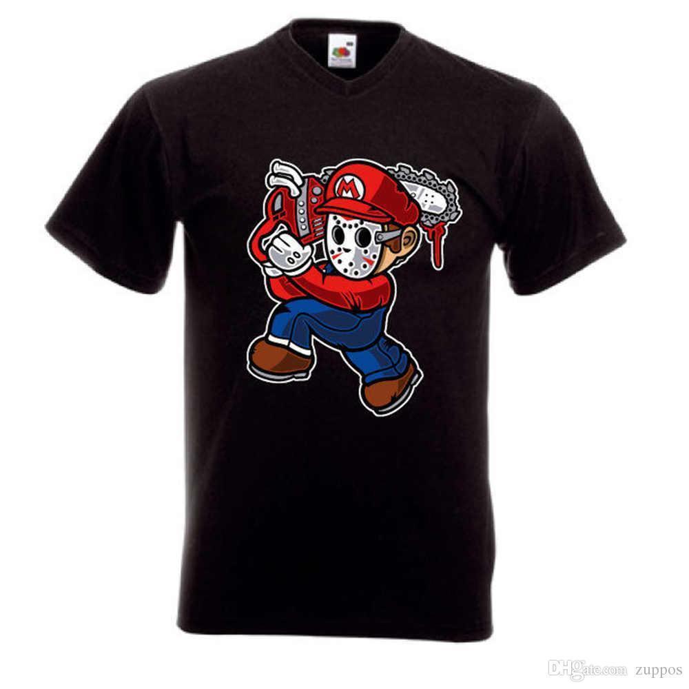 050a10242f59 OUTLET Herren T- Shirt M SUPER MARIO MIT KETTENSAGE SCHWARZ Comic
