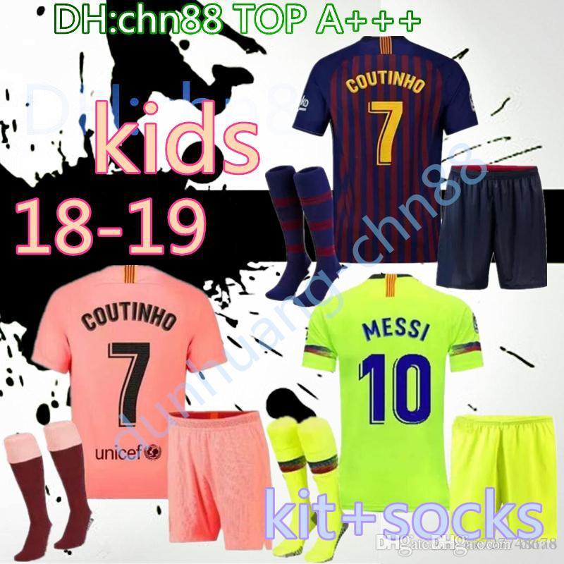 premium selection a1dd6 a3540 18 19 KIDS+socks barcelona MESSI Soccer Jersey 2018 2019 BOYS COUTINHO  Soccer Shirt O.DEMBELE SUAREZ RAKITIC Club 3rd Football kits Uniform