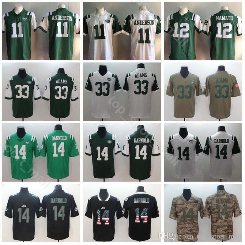 new concept dab6d e7d6d Men New York Football 11 Robby Anderson Jersey Jets 14 Sam Darnold 33 Jamal  Adams 12 Joe Namath Vapor Untouchable Green White USA Flag