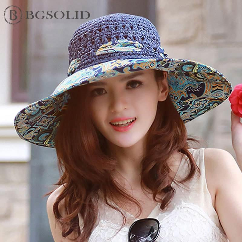 166418c83f6 Ladies Summer Sunshade Hat Anti-ultraviolet Foldable Sun Hat Beach Brim  Sunscreen Straw Sun Hats Cheap Sun Hats Ladies Summer Sunshade Hat Anti  Online with ...