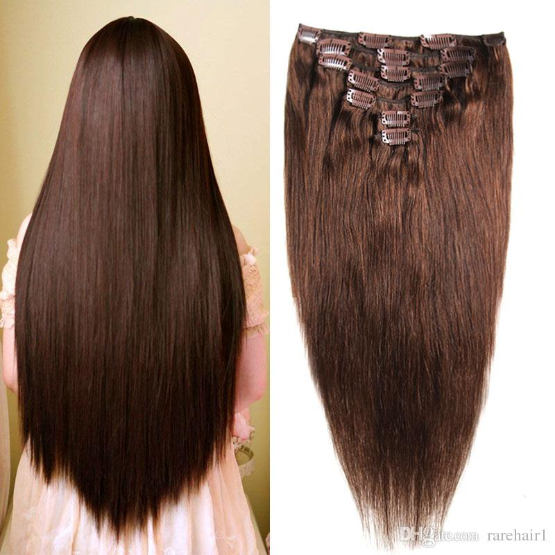Clip In Remy Human Hair Extensions Full Head Straight 70g 14inch 20inch  Double Drawn Nature Human Hair In Clips For Hair Extension 26 Inch Hair  Extensions ... b6f00e96d