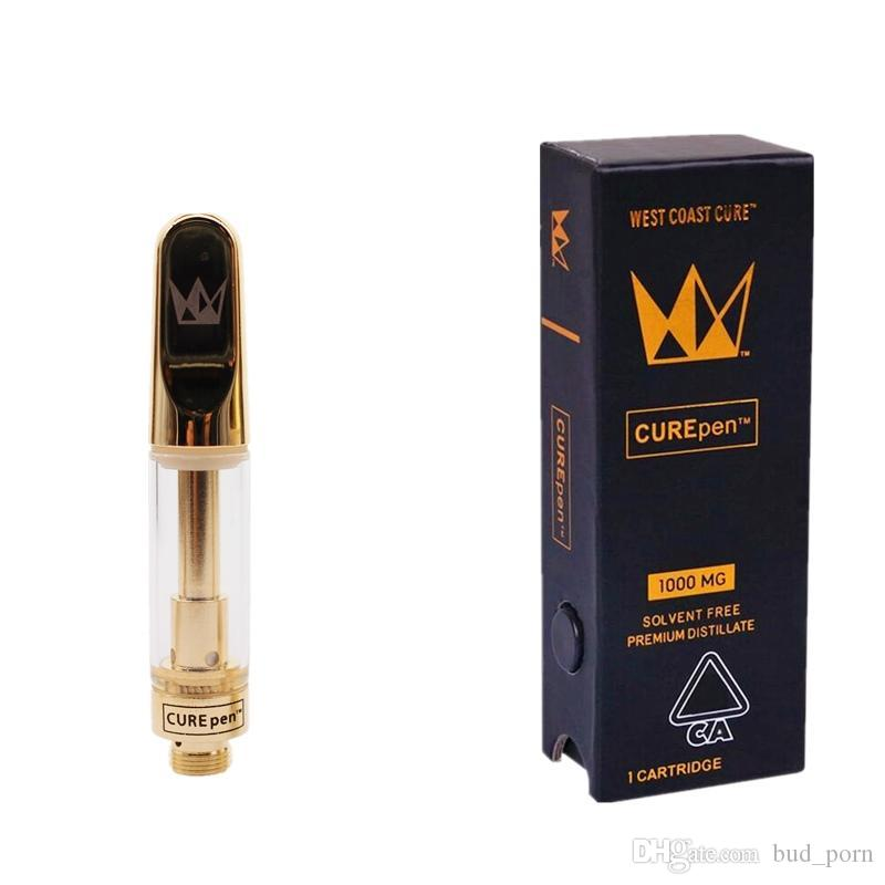 Curepen Cartridges West Coast Cure Vape Pen Gold Th210 Th205 Ceramic Coils Carts with Childproof Box Flavors Stickers Premium Atomizers