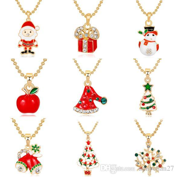 aa0ff4223a256 New Christmas Pendant Necklace Santa Claus Deer Christmas Tree Sock Snowman  Mix Crystal Quality Gift for Kids Women Christmas Jewelry