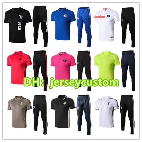 927a77484b6 Psg polo shirt long pants Real Madrid 2018 2019 psg aJ football training  suit GRIEZMANN POGBA MBAPPE chandal jorDAM jogging kits soccer set