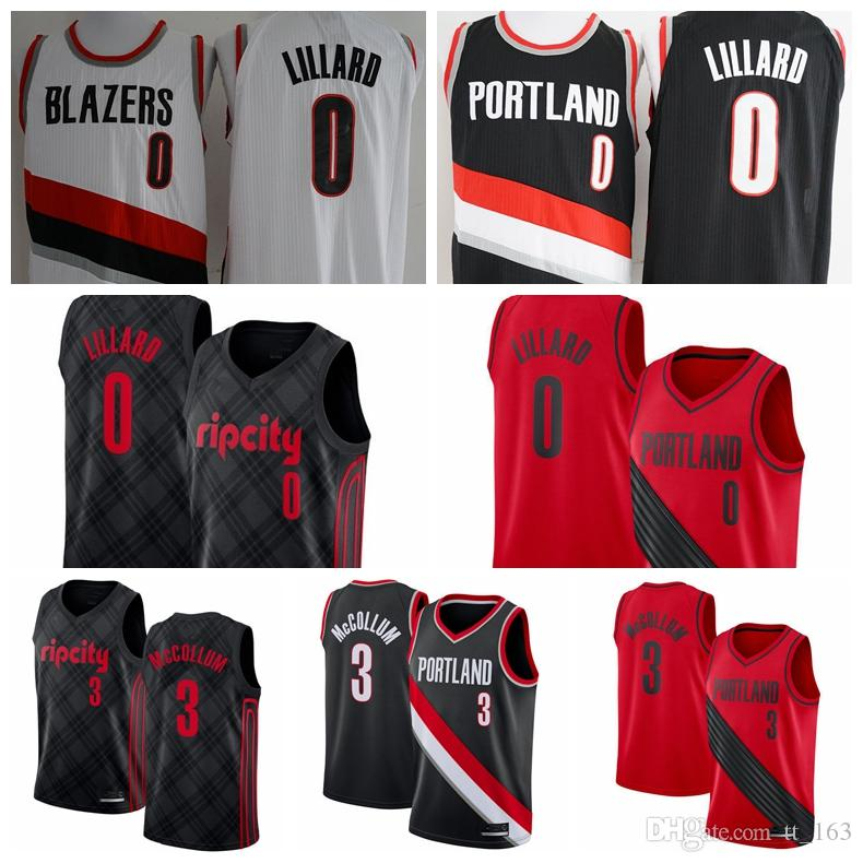 watch 9d67c ebdc4 2018-2019 Portland Men s Trail Blazer jersey Swingman Basketball Jersey 0  Damian Lillards 3 C.J. McCollums