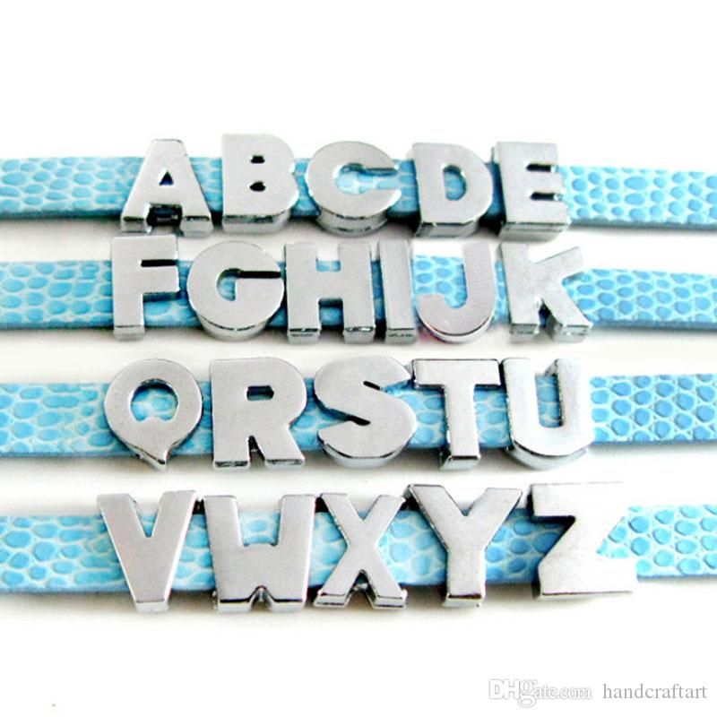 20PCS 8MM No Rhinestone Slide Letters Plain letter charms U-Z Fit DIY Wristbnad / Bracelet LSSL09