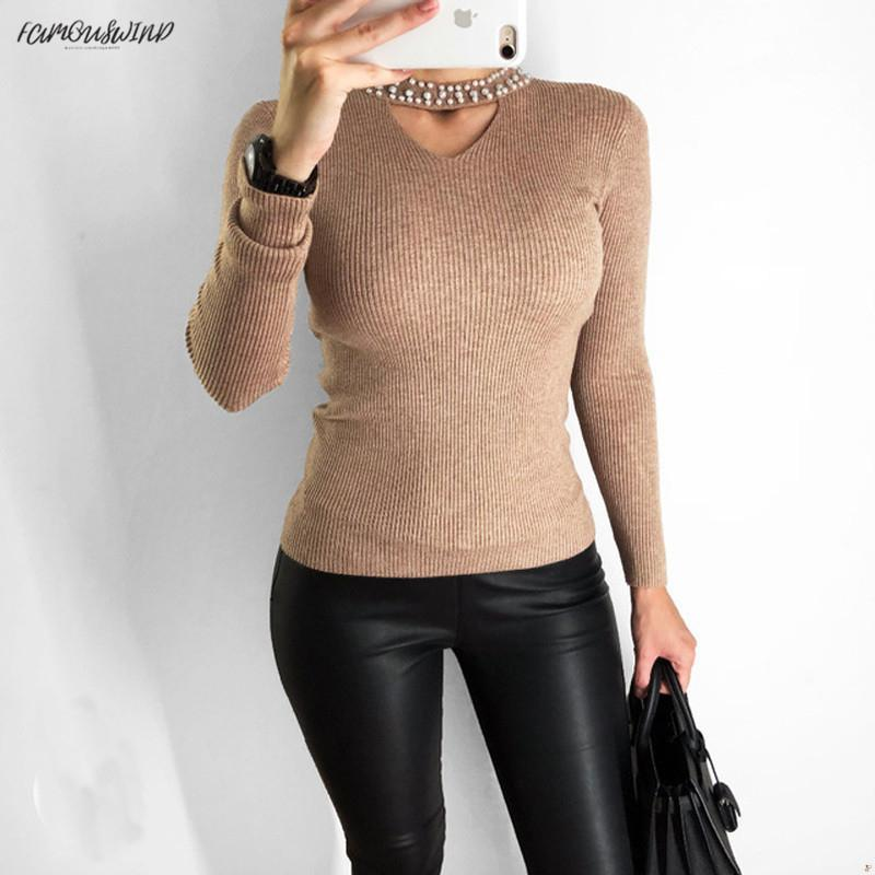 Slim Solid Pearls Pink Sweater Mujeres Halter Knit Pullover Sweater Sexy Winter Tops Autumn Slim V Neck Long Sleeve Jumper