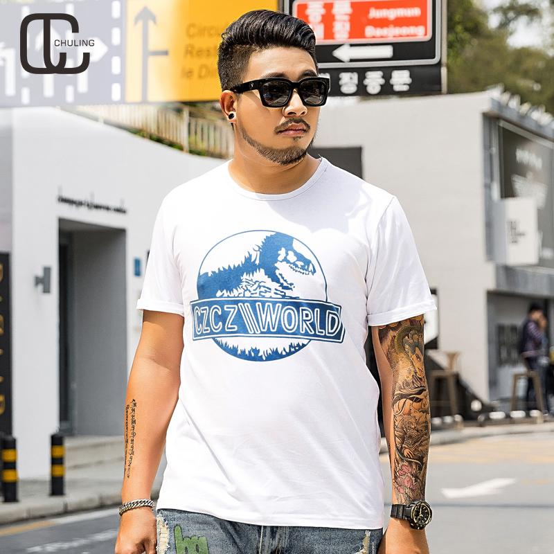 a8f684350 2019 Summer Cotton Men'S White Casual Print T Shirt Oversize Plus Size  Fashion O Neck Pullover Tees Loose Short Sleeve Tops 6XL Crazy Tee Shirts  Novelty T ...