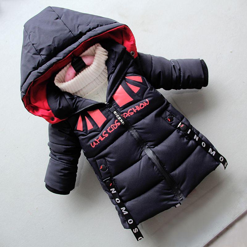 8b050bd0c Good Qulaity 2019 Fashion Boys Coat Jackets Winter Warm Thick Hooded ...