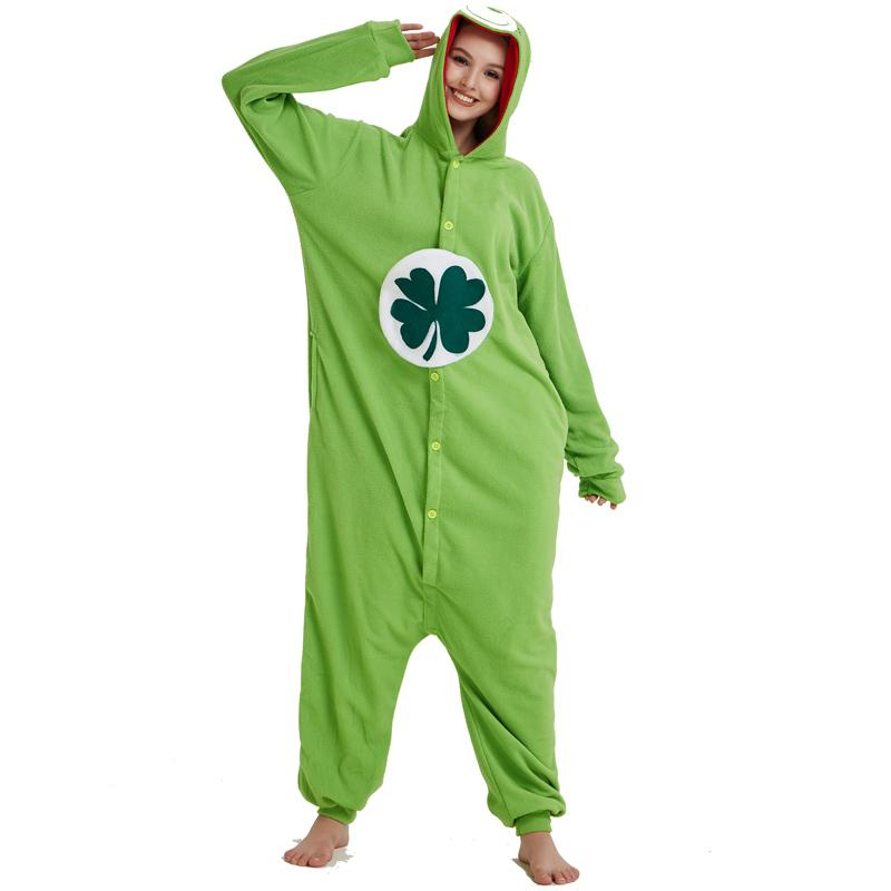 2019 Lucky Care Bear Onesie Green Cosplay Animal Costume Kigurumi Pajamas  Adult Women Men Unisex One Piece Hooded Party For Halloween From Home5 f0e1ad96218dc