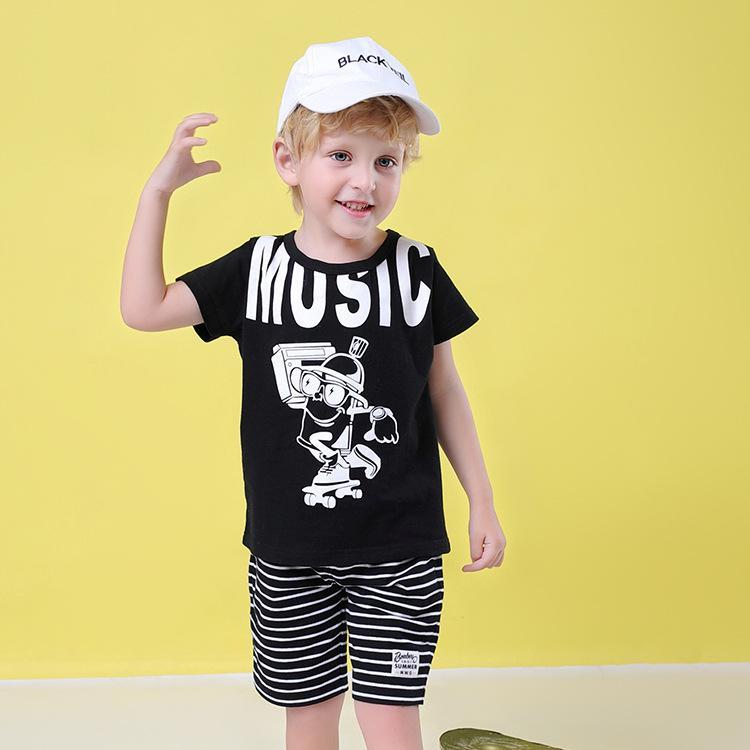 183295047 Traje de verano para niños 2019, nuevo estilo europeo y americano, camiseta  de manga corta de algodón con estampado de dibujos animados.
