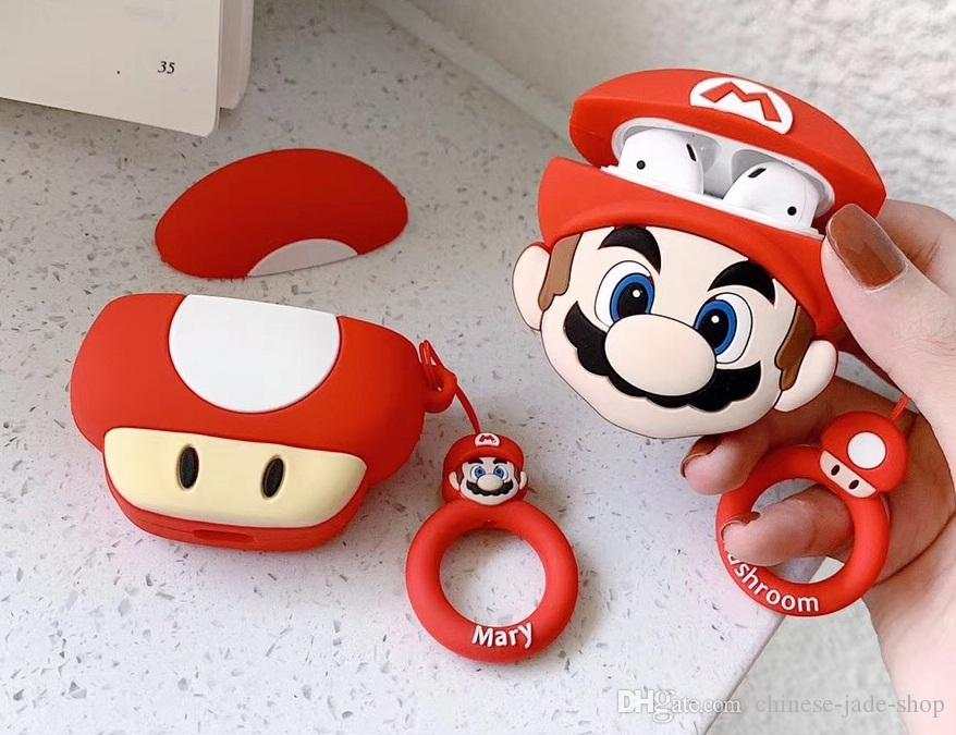 Cute Super Mario Cartoon 3D silicone earphone bag case For Apple airpods 1 2 Protective Cover Anti lost Strap 50pcs simple opp