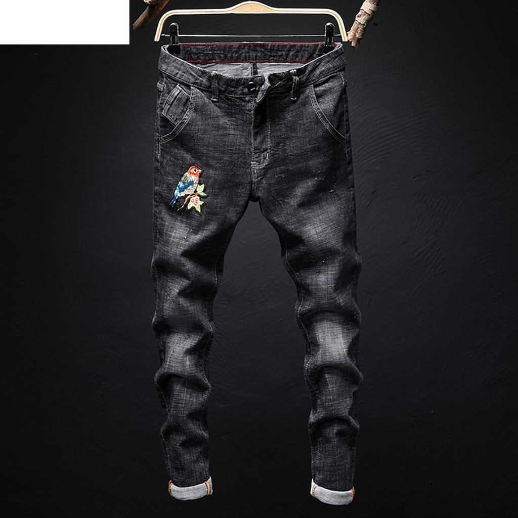 New Warm 2019 Fashion Jeans Pants Men's Casual Personality Printing Slim Fit Denim Jeans Pants 19MAY22