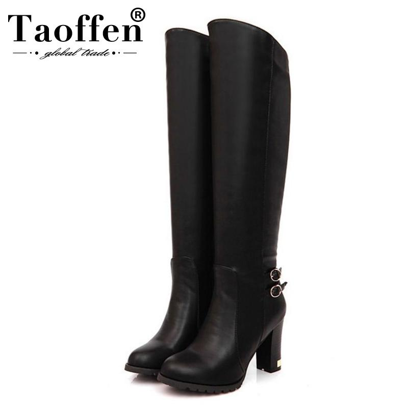 38df995b2f TAOFFEN Big Size 34 43 Women Knee Boots Vintage Square High Heels Round Toe  Platform Shoes Woman Winter Fur Knight Boots Sexy Shoes Boots Shoes From ...