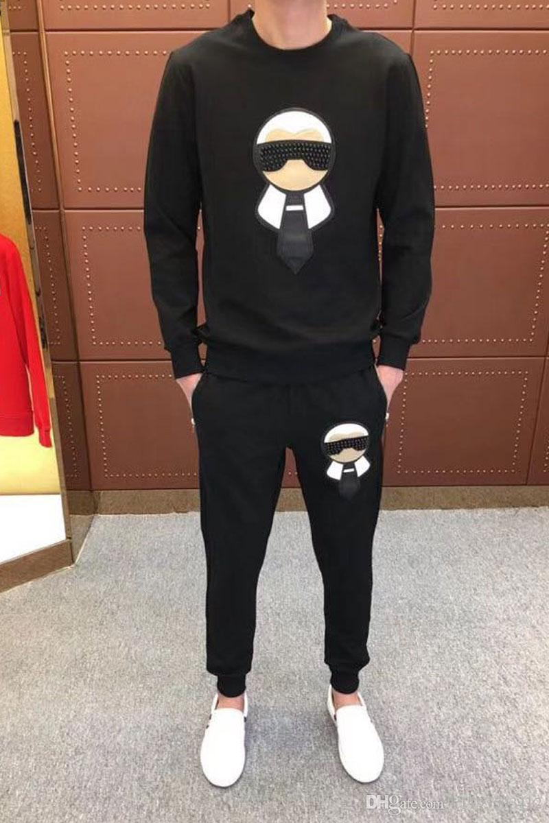 2019 New Male Fashion Print Cotton Long Sleeve Pullover Jogger Suits Jacket Pants Sets Mens Designer Tracksuit Sport Suit Plus Size M-4XL